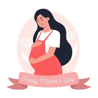 Cartão do dia das mães, mãe segura a filha nos braços