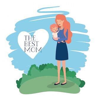 Cartão do dia de mães com mãe e filho no campo