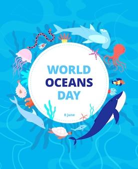 Cartão do dia de oceanos. limpe o mar, a água da terra.