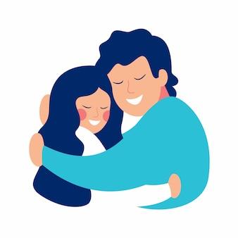 Cartão do dia de pai com o pai que abraça sua filha com inquietação e amor.
