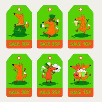 Cartão do dia de saint patrick com raposas e simbols irlandeses