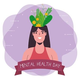 Cartão do dia de saúde mental com planta na mulher