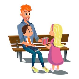 Cartão do dia do pai do banco do ob da filha do filho do pai dos desenhos animados