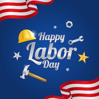 Cartão do dia do trabalho com a bandeira americana.