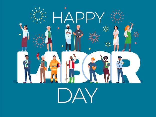 Cartão do dia do trabalho com as pessoas. férias internacionais de trabalho, trabalhadores em profissões diferentes uniformes, fogos de artifício sobre letras grandes, conceito de vetor