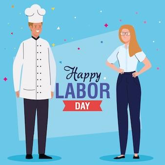 Cartão do dia do trabalho, com mulher e homem de diferentes profissões, empresária e chef vector design ilustração