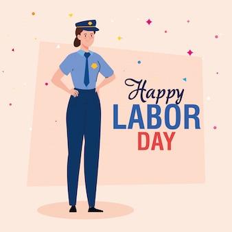 Cartão do dia do trabalho, com mulher policial trabalhador vector design ilustração
