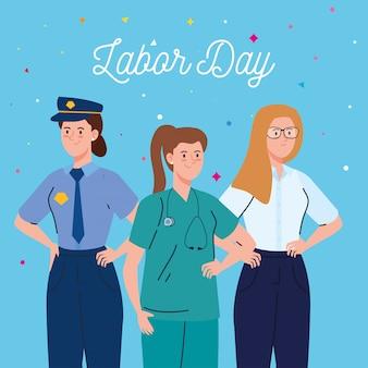 Cartão do dia do trabalho, com mulheres grupo projeto de ilustração vetorial ocupação diferente