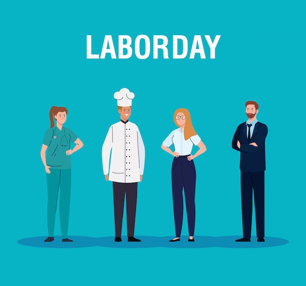 Cartão do dia do trabalho, com pessoas de diferentes profissões vector design ilustração