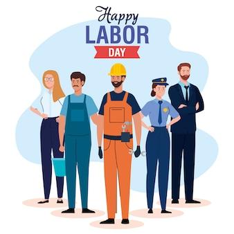 Cartão do dia do trabalho com pessoas grupo ocupação diferente e fita decoração vector design ilustração