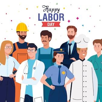 Cartão do dia do trabalho com pessoas grupo ocupação diferente ilustração vetorial design