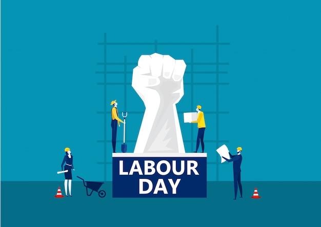Cartão do dia do trabalho de pessoas na ilustração de fundo de construção de cidade