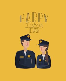 Cartão do dia do trabalho feliz com casal de trabalhadores