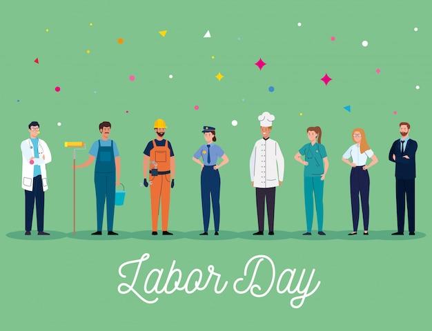 Cartão do dia do trabalho. pessoas, grupo, ocupação diferente, vetorial, ilustração, desenho