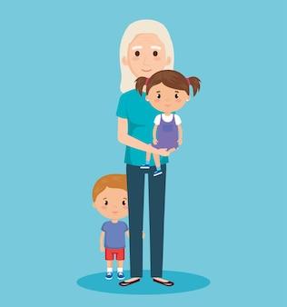 Cartão do dia dos avós com avó e geandchildren