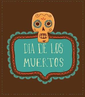 Cartão do dia dos mortos com caveira mexicana