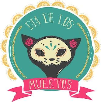 Cartão do dia dos mortos com crânio de gato mexicano