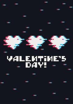 Cartão do dia dos namorados com corações bonitos de pixel e efeito de falha do jogo
