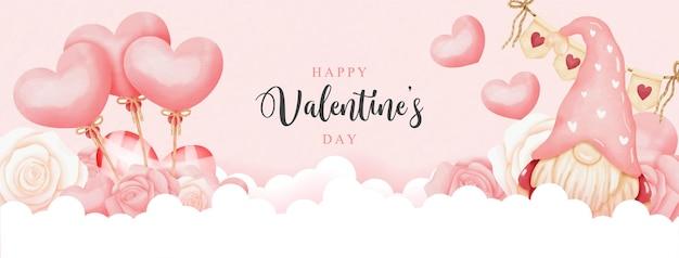 Cartão do dia dos namorados em aquarela com gnomo e balões de coração