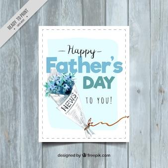 Cartão do dia dos pais com a aguarela do ramalhete