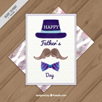 Cartão do dia dos pais da aguarela com chapéu, bigode e gravata borboleta