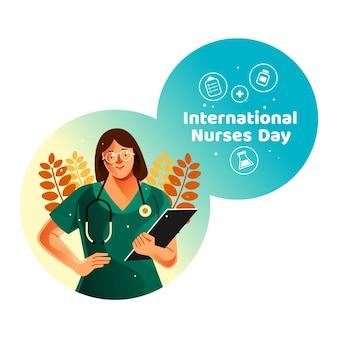 Cartão do dia internacional das enfermeiras com a enfermeira segurando a prancheta médica