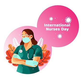 Cartão do dia internacional das enfermeiras com as enfermeiras usam máscaras médicas e luvas