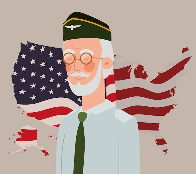 Cartão do dia memorial com veterano e eua bandeira no mapa