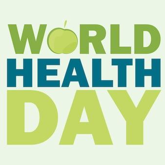Cartão do dia mundial da saúde. ilustração vetorial com maçã verde e texto em fundo de cor clara