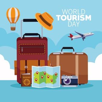 Cartão do dia mundial do turismo com design de ilustração vetorial de malas e monumentos