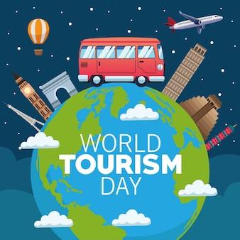 Cartão do dia mundial do turismo com design de ilustração vetorial planeta terra e monumentos