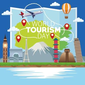 Cartão do dia mundial do turismo com mapa de papel e design de ilustração vetorial de monumentos