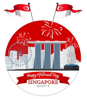 Cartão do dia nacional de cingapura com marina bay sands cingapura e fogos de artifício