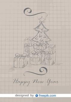 Cartão do doodle do natal com árvore e presentes