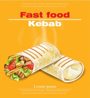 Cartão do fast food do kebab de shawarma