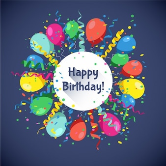 Cartão do feliz aniversario com as esferas multicolor serpentina e confete ilustração