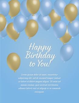 Cartão do feliz aniversario com balões do azul e do ouro