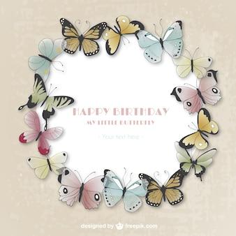 Cartão do feliz aniversario com borboletas