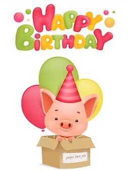 Cartão do feliz aniversario com personagem de banda desenhada do porco. ilustração vetorial