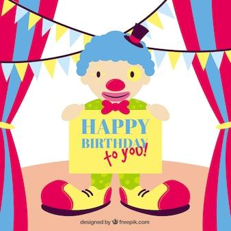 Cartão do feliz aniversario com um palhaço