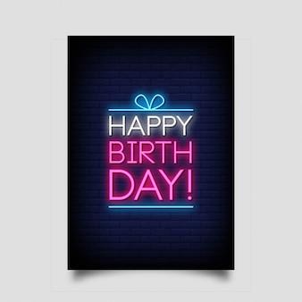 Cartão do feliz aniversario no estilo de néon.