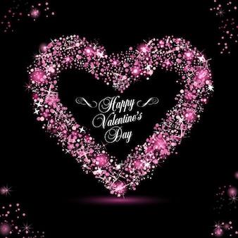 Cartão do feliz dia dos namorados com brilhos rosa