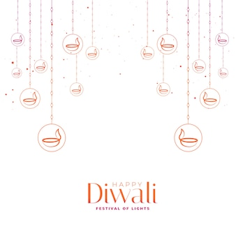 Cartão do feliz festival de diwali com diyas decorativos