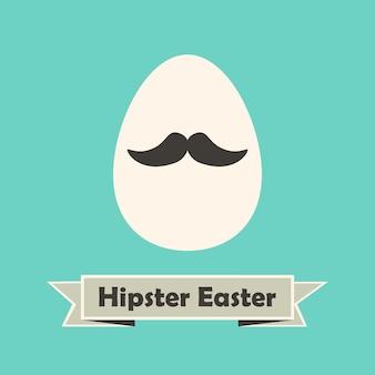 Cartão do feriado da páscoa hipster com ovo com bigode. ilustração de estilo simples