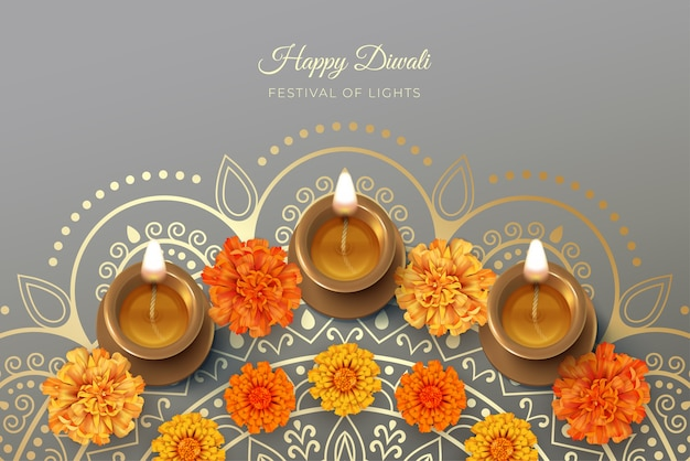 Cartão do festival de diwali com lâmpada diya e flores de calêndula