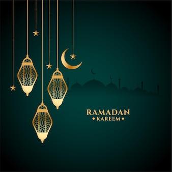 Cartão do festival eid ramadan kareem com lanterna dourada