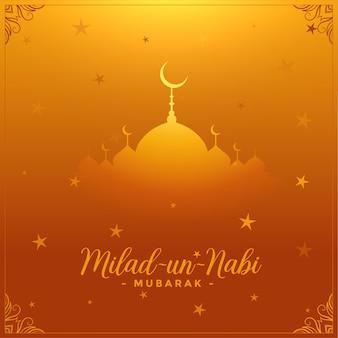 Cartão do festival islâmico milad un nabi com fundo dourado