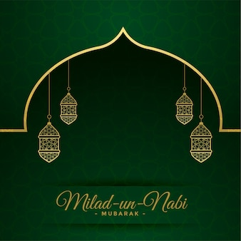 Cartão do festival milad un nabi com decoração de lâmpadas