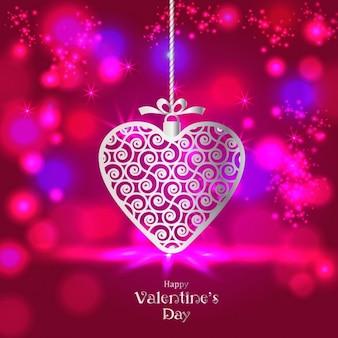 Cartão do fundo do dia do valentim com coração metálico