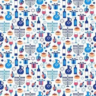 Cartão do hanukkah do feriado judaico com símbolos tradicionais.